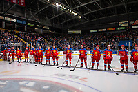 KELOWNA, BC - DECEMBER 18:  Team Russia stands on the blue line against the Team Sweden at Prospera Place on December 18, 2018 in Kelowna, Canada. (Photo by Marissa Baecker/Getty Images)***Local Caption***