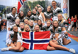 Charmers All Stars, Norway, group photo during final ceremony at second day of European Cheerleading Championship 2008, on July 6, 2008, in Arena Tivoli, Ljubljana, Slovenia. (Photo by Vid Ponikvar / Sportal Images).