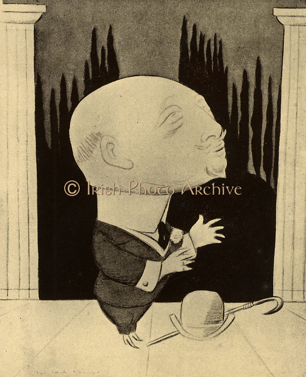 Gabriele D'Annunzio (1863-1938) Italian journalist, novelist, poet, patriot and politician. Supporter of Mussolini and Fascism.  From 'Fifty Caricatures' by Max Beerbohm (1872-1956) (London, 1913).  Copyright to be cleared.