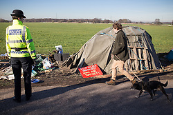 © Licensed to London News Pictures . 11/03/2014 . Barton Moss , Salford , UK . Anti-fracking protesters on Barton Moss Road at the Barton Moss protest camp today (11th March 2014) as they have lost a court bid against land owners Peel Holdings to remain on their site . Photo credit : Joel Goodman/LNP