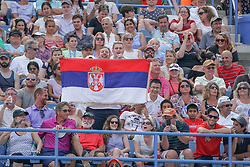 August 19, 2018 - Mason, Ohio, USA - Fans hold up the Serbian flag at Sunday's final round of the Western and Southern Open at the Lindner Family Tennis Center, Mason, Oh. (Credit Image: © Scott Stuart via ZUMA Wire)