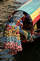 Longtail boats, or water taxis as they are sometimes called, are a great way of getting around Bangkok and other parts of Thailand.  The bows are usually festooned with marigolds or other flowers for good luck.