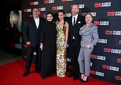 Graham King, Kristin Scott Thomas, Alicia Vikander, Roar Uthaug and Jaime Winstone attending the Tomb Raider European Premiere held at Vue West End in Leicester Square, London.