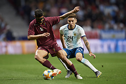 March 22, 2019 - Madrid, Madrid, Spain - Roberto Rosales (Espanyol) of Venezuela and Gonzalo Montiel (River) of Argentina competes for the ball during the international friendly match between Argentina and Venezuela at Wanda Metropolitano Stadium in Madrid, Spain on March 22 2019. (Credit Image: © Jose Breton/NurPhoto via ZUMA Press)