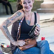 Tattoo ladies at Parliament square against vaccine passport