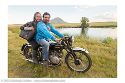 Erin and Billy Lane on his Vincent at Heather and Chris Callen's Wedding at the Broken Spoke Camground during the 75th Annual Sturgis Black Hills Motorcycle Rally.  SD, USA.  August 8, 2015.  Photography ©2015 Michael Lichter.