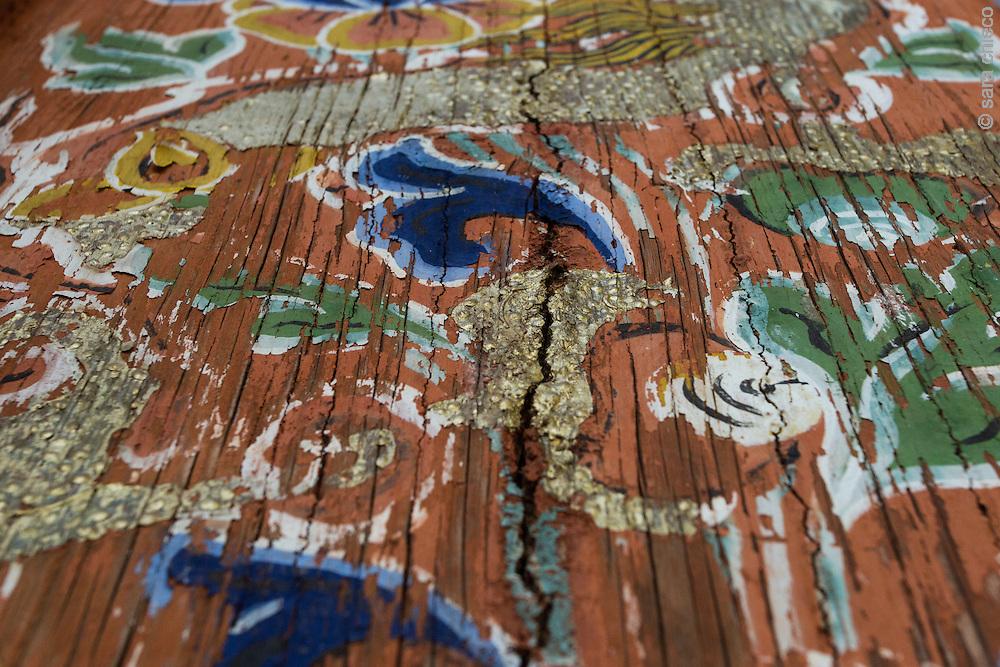 Beautiful painted wood in Jakar Dzong, Jakar, Bumthang District, Bhutan