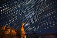 Star trails over mushroom rocks in Escalante - Grand Staircase National Memorial.