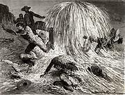 Edwin Laurentine Drake (1810-1880), American oil pioneer, striking oil near Oil Creek, Pennsylvania, 27 August 1859.   Engraving from 'Les Merveilles de la Science' by Louis Figuier (Paris, c1870).