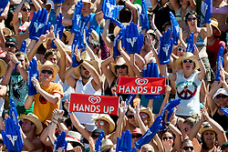 Fans with hands up sings at A1 Beach Volleyball Grand Slam tournament of Swatch FIVB World Tour 2010, semifinal, on August 1, 2010 in Klagenfurt, Austria. (Photo by Matic Klansek Velej / Sportida)