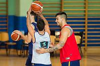 Juan Carlos Navarro and Willy Hernangomez during the Spain training session before EuroBasket 2017 in Madrid. August 02, 2017. (ALTERPHOTOS/Borja B.Hojas)
