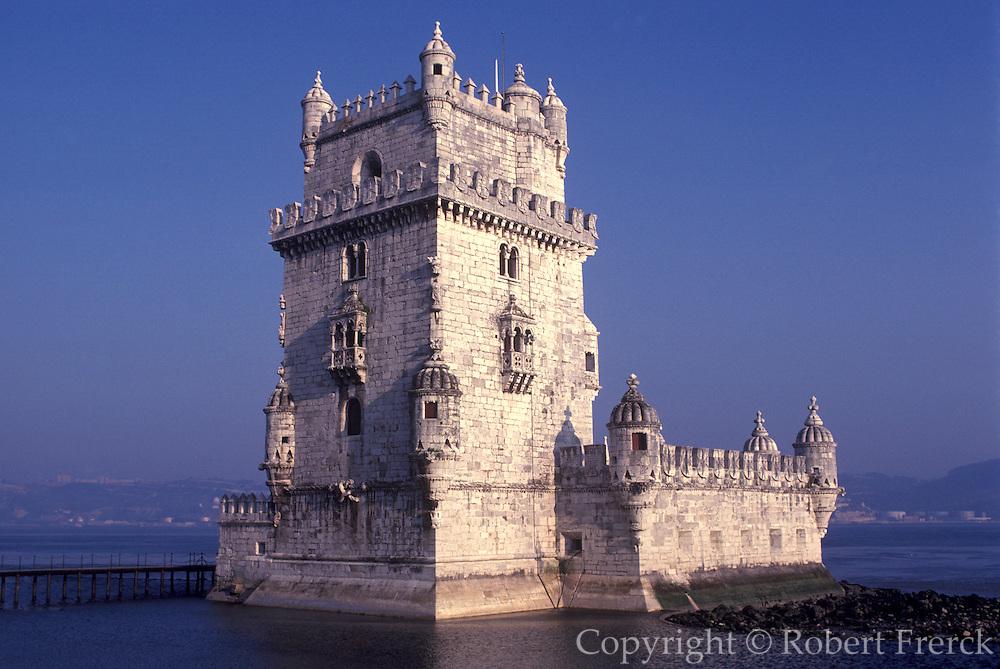 PORTUGAL, LISBON, BELEM, Torre de Belem, Manueline castle on harbor