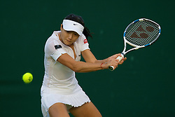 LONDON, ENGLAND - Monday, June 23, 2008: Zi Yan (CHN) during the Ladies' Singles first round on during day one of the Wimbledon Lawn Tennis Championships at the All England Lawn Tennis and Croquet Club. (Photo by David Rawcliffe/Propaganda)