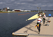2005 FISA World Cup, Dorney Lake, Eton, ENGLAND, 28.05.05. Germany's Gold medallist Daniela Reimer and Marie-Louise Draeger  and Bronze medallist, Berir Carow and Laura Tasch light women's double sculls.Photo  Peter Spurrier. .email images@intersport-images..[Mandatory Credit Peter Spurrier/ Intersport Images] Rowing Course, Dorney Lake