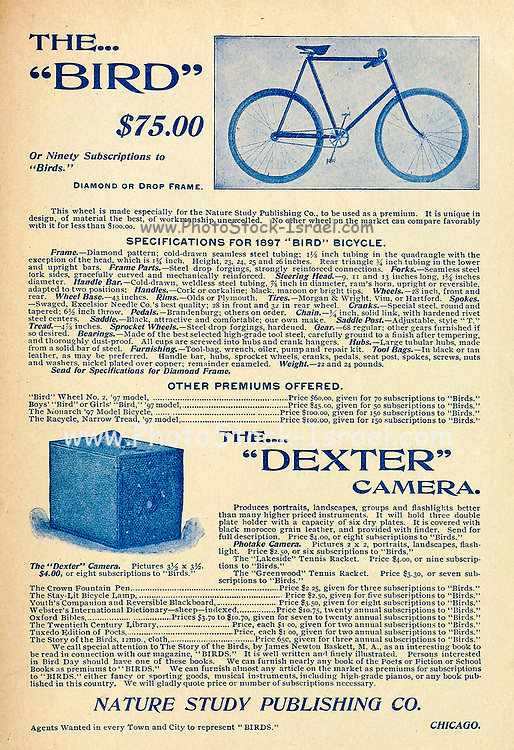 Ad for Bird Bicycle and Dexter Camera Appeared in a monthly magazine called 'Birds : illustrated by color photography' a monthly serial. Knowledge of Bird-life in 1897.