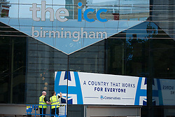 © Licensed to London News Pictures. 28/09/2016. Birmingham, UK. The ICC in Birmingham being readied 10 days before the Conservative conference starts at the ICC. Security fencing has been erected, signage is being put in place and there is a heightened Police presence. Photo credit: Dave Warren/LNP