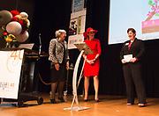 Koningin Maxima bij symposium 40 jaar Blijf van m'n Lijf in het Tropenmuseum, Amsterdam.Het symposium geeft inzicht in de geschiedenis van de vrouwenopvang en de nieuwe mogelijkheden voor de aanpak van huiselijk geweld. <br /> <br /> Queen Maxima Symposium Stay 40 years of my Body in the Tropenmuseum, Amsterdam.The symposium provides insight into the history of the women's and the new possibilities for addressing domestic violence.<br /> <br /> op de foto / On the photo:  Koningin Maxima, met links directeur Blijf Groep Aleid van den Brink en rechts bedenker van de app P. van der Pool, tijdens de lancering van de app Ican, die vrouwen na een situatie met partnergeweld helpt herstellen en bouwen aan zelfvertrouwen.<br /> <br /> Queen Maxima, with links Director Group Stay Aleid van den Brink and right creator of the app P. van der Pool, during the launch of the app Ican that women after a situation of domestic violence helps repair and build self-confidence.