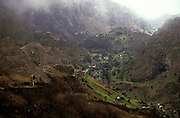 The deep valleys in the northeast zone of Santo Antao island like the Pauls Valley, have a microclimate that makes it the only part of the archipelago where it rains regularly and where many vegetables and fruits grow.