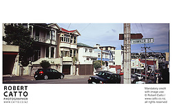 Typical houses and street scenes at Mt Victoria, Wellington, New Zealand.<br />
