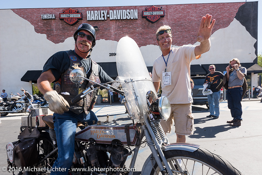 Rowdy Schenck of New Mexico on his 1915 Harley-Davidson as he arrives at the hosted lunch stop at Temecula Harley-Davidson on the last day of the Motorcycle Cannonball Race of the Century. Stage-15 ride from Palm Desert, CA to Carlsbad, CA. USA. Sunday September 25, 2016. Photography ©2016 Michael Lichter.