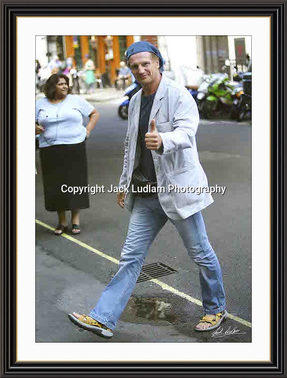Liam Neeson Charlotte st London 2005<br /> A2 Museum-quality Archival signed Framed Print