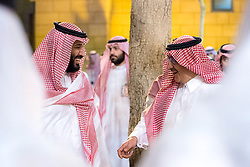 Saudi Crown Prince Mohammed (or Mohammad) Bin Nayef Bin Abdelaziz Al Saud talks with his cousin Prince Mohammed (or Mohammad) Bin Salman Bin Abdelaziz (or Abdul Aziz) Al Saud (left) during ceremony with US President Donald Trump and First Lady Melania in Riyadh, Saudi Arabia on May 20, 2017. This is the first US president's visit abroad. Photo by Balkis Press/ABACAPRESS.COM