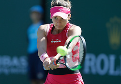 March 8, 2019 - Indian Wells, CA, U.S. - INDIAN WELLS, CA - MARCH 08: Lauren Davis (USA) hits a backhand during the second round of the BNP Paribas Open on March 08, 2019, at the Indian Wells Tennis Gardens in Indian Wells, CA. (Photo by Adam Davis/Icon Sportswire) (Credit Image: © Adam Davis/Icon SMI via ZUMA Press)
