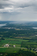 Aerial photograph of a rainstorm falling over rural Wisconsin, near Wales, Wisconsin.