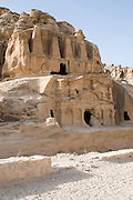 Middle East, Jordan, Petra, UNESCO World Heritage Site. the Obelisk Tomb (above) and the Bab Al-Siq Triclinium (below)