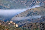 Finger of coastal fog in the Santa Monica Mountains above Malibu, Los Angeles County, California