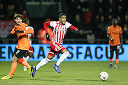Brentford defender Ezri Konsa (26) running with the ball during The FA Cup fourth round match between Barnet and Brentford at The Hive Stadium, London, England on 28 January 2019.
