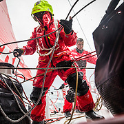Leg 3, Cape Town to Melbourne, day 03,  Willy Altadill and Blair Tuke on board MAPFRE. Photo by Jen Edney/Volvo Ocean Race. 14 December, 2017.