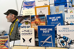 Edinburgh, Scotland, UK. 27 April, 2019. SNP ( Scottish National Party) Spring Conference takes place at the EICC ( Edinburgh International Conference Centre) in Edinburgh. Pictured; Pro independence books for sale on a bookshop stall.