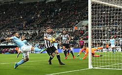 27 December 2017 Newcastle: Premier League Football - Newcastle United v Manchester City : Sergio Aguero of City narrowly fails to reach a cross in the United goal area.<br /> (photo by Mark Leech)