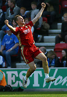 Photo: Paul Thomas.<br /> Wigan Athletic v Portsmouth. The Barclays Premiership. 29/04/2006.<br /> <br /> Portsmouth's Matthew Taylor celebrates his goal.