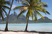 Mount Otemanu, Bora Bora, French Polynesia, with overwater bungalows in lagoon
