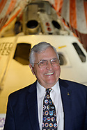 Garden City, New York, U.S. June 6, 2019. Apollo 17 astronaut HARRISON SCHMITT  smiles in front of the genuine Rockwell Command  Module 002, Command and Service Module with splashdown parachute attached, during Cradle of Aviation Museum's Apollo Astronauts Press Conference during its day of events celebrating 50th Anniversary of Apollo 11. CSM-002 was used for  A-004, the final test of Apollo launch escape vehicle and first flight of a Block 1 Apollo Command Service Module.