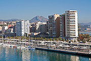 Apartment blocks and yachts in marina of Muelle Uno port development, city of Malaga, Spain