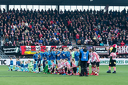 the teams of Sparta and Excelsior at the line up during the Dutch Eredivisie match between Sparta Rotterdam and sbv Excelsior at the Sparta stadium Het Kasteel on January 21, 2018 in Rotterdam, The Netherlands