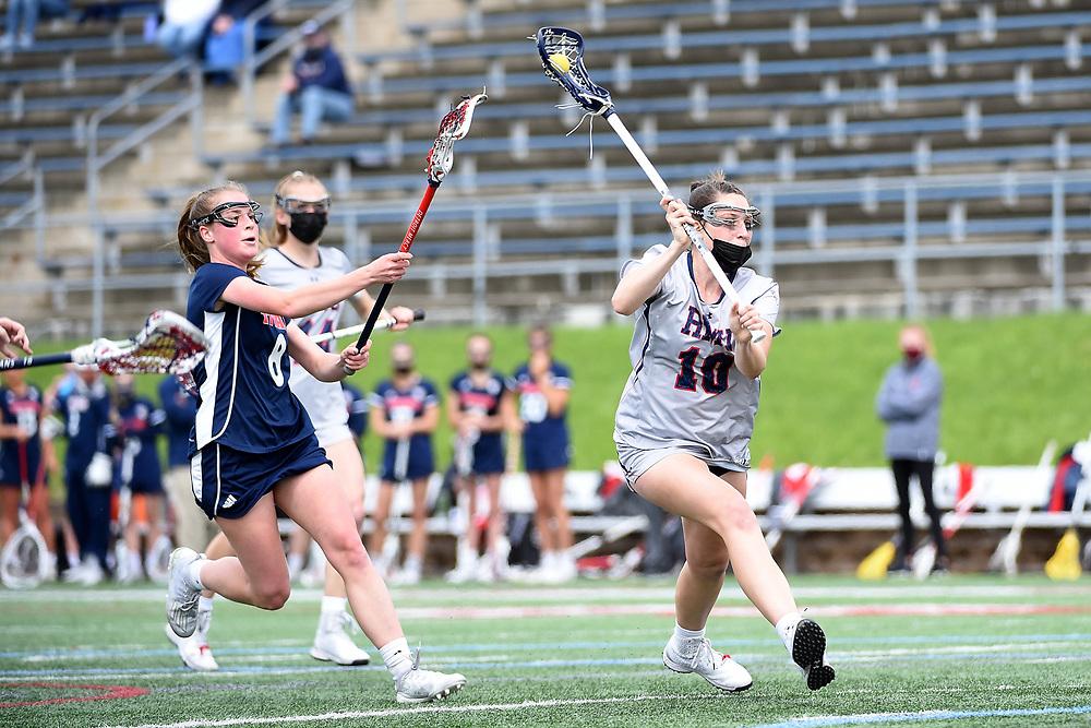 Robert Morris Women's Lacrosse vs. Detroit Mercy at Joe Walton Stadium on May 6, 2021 in Moon Township, Pennsylvania. (Photo by Justin Berl/RMU Athletics)
