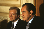 Former Presidents Nixon and Carter pay their respects to Egypt's first lady Jenah Sadat at the funeral of Anwar Sadat ..Photograph by Dennis Brack bb 34