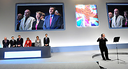 © Licensed to London News Pictures. 29/09/2011. LONDON, UK. Senior Labour Party members lead the conference in song at the end of The Labour Party Conference in Liverpool today (2829/09/11). Photo credit:  Stephen Simpson/LNP