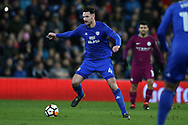 Sean Morrison of Cardiff city in action. The Emirates FA Cup, 4th round match, Cardiff city v Manchester City at the Cardiff City Stadium in Cardiff, South Wales on Sunday 28th January 2018.<br /> pic by Andrew Orchard, Andrew Orchard sports photography.