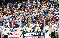 1996:  RHI Bullfrogs bench and fans in the stands during final game. Transparency slide scan.