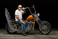 Micah McCloskey's 1950 Panhead Chopper. Photographed by Michael Lichter in Sturgis, SD. August 7, 2021. ©2021 Michael Lichter