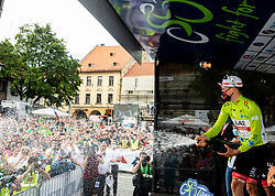 Overall winner Tadej POGACAR of UAE TEAM EMIRATES  celebrates at trophy ceremony during the 5th Stage of 27th Tour of Slovenia 2021 cycling race between Ljubljana and Novo mesto (175,3 km), on June 13, 2021 in Slovenia. Photo by Vid Ponikvar / Sportida