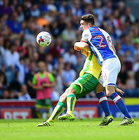 Blackburn Rovers' Darragh Lenihan vies for possession with Norwich City's Steven Naismith<br /> <br /> Photographer Chris Vaughan/CameraSport<br /> <br /> Football - The EFL Sky Bet Championship - Blackburn Rovers v Norwich City - Saturday 6th August 2016 - Ewood Park - Blackburn<br /> <br /> World Copyright © 2016 CameraSport. All rights reserved. 43 Linden Ave. Countesthorpe. Leicester. England. LE8 5PG - Tel: +44 (0) 116 277 4147 - admin@camerasport.com - www.camerasport.com