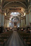 Nave and altar inside Saint Francis of Assisi Church interior, Valletta, Malta