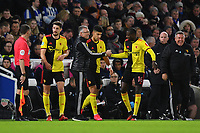 Football - 2019 / 2020 Premier League - Brighton & Hove Albion vs. Watford<br /> <br /> Watford's Abdoulaye Doucoure celebrates scoring the opening goal with Nigel Pearson, at the Amex Stadium.<br /> <br /> COLORSPORT/ASHLEY WESTERN