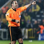 Referee's Bunyamin GEZER during their Turkish superleague soccer derby match Fenerbahce between Trabzonspor at the Sukru Saracaoglu stadium in Istanbul Turkey on Sunday 30 January 2011. Photo by TURKPIX